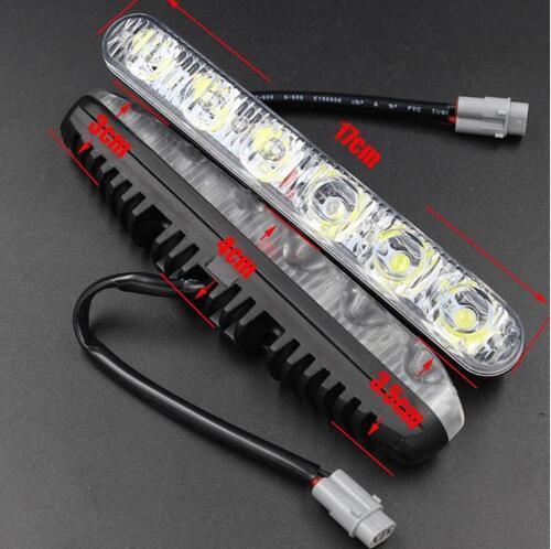 2 la lampada di giorno di luce del giorno dell'indicatore luminoso corrente DRL dell'automobile degli insiemi 6 LED con la girata illumina le lampade degli indicatori luminosi correnti di giorno di tempo di giorno