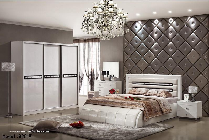 Accueil mobilier de chambre à coucher de luxe moderne faite de mélamine mdf laminé haute brillance et de finition au four accueil mobilier de chambre