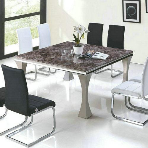 Square Table à Manger En Marbre Avec Châssis En Acier Inoxydable (A313)  U2013Square Table à Manger En Marbre Avec Châssis En Acier Inoxydable (A313)  Fournis Par ...