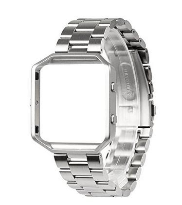 für Fitbit Flammen-Band Wearlizer intelligentes Uhrenarmband mit Metallrahmen-Edelstahl-Abwechslungs-Brücke für Fitbit Flamme - Silber
