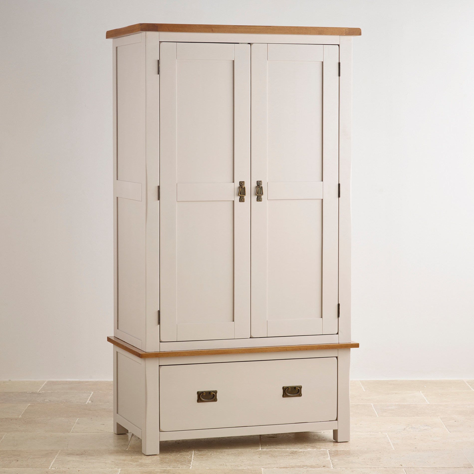Peint En Blanc Chambre Moderne En Bois Massif De Chêne 2 Portes Avec Tiroir  Armoire Penderie