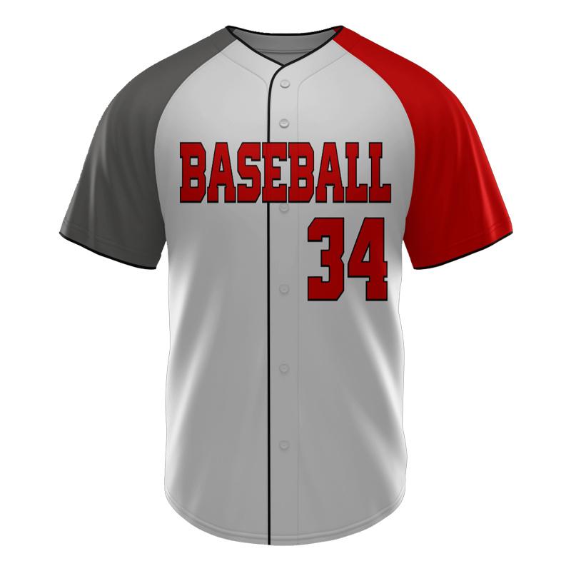 Economica Sublimazione Completa 100% Poliestere Sublimato Personalizzato Collo V Bianco Grey Baseball Jersey