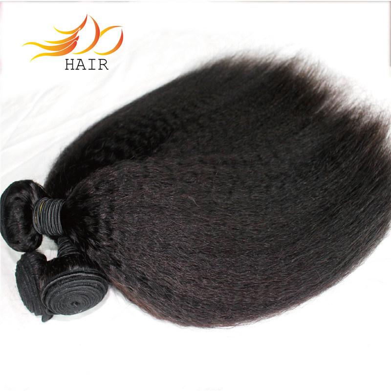 100% Kinky não transformados em Linha Reta Virgem Brasileira Remy Hair tecem