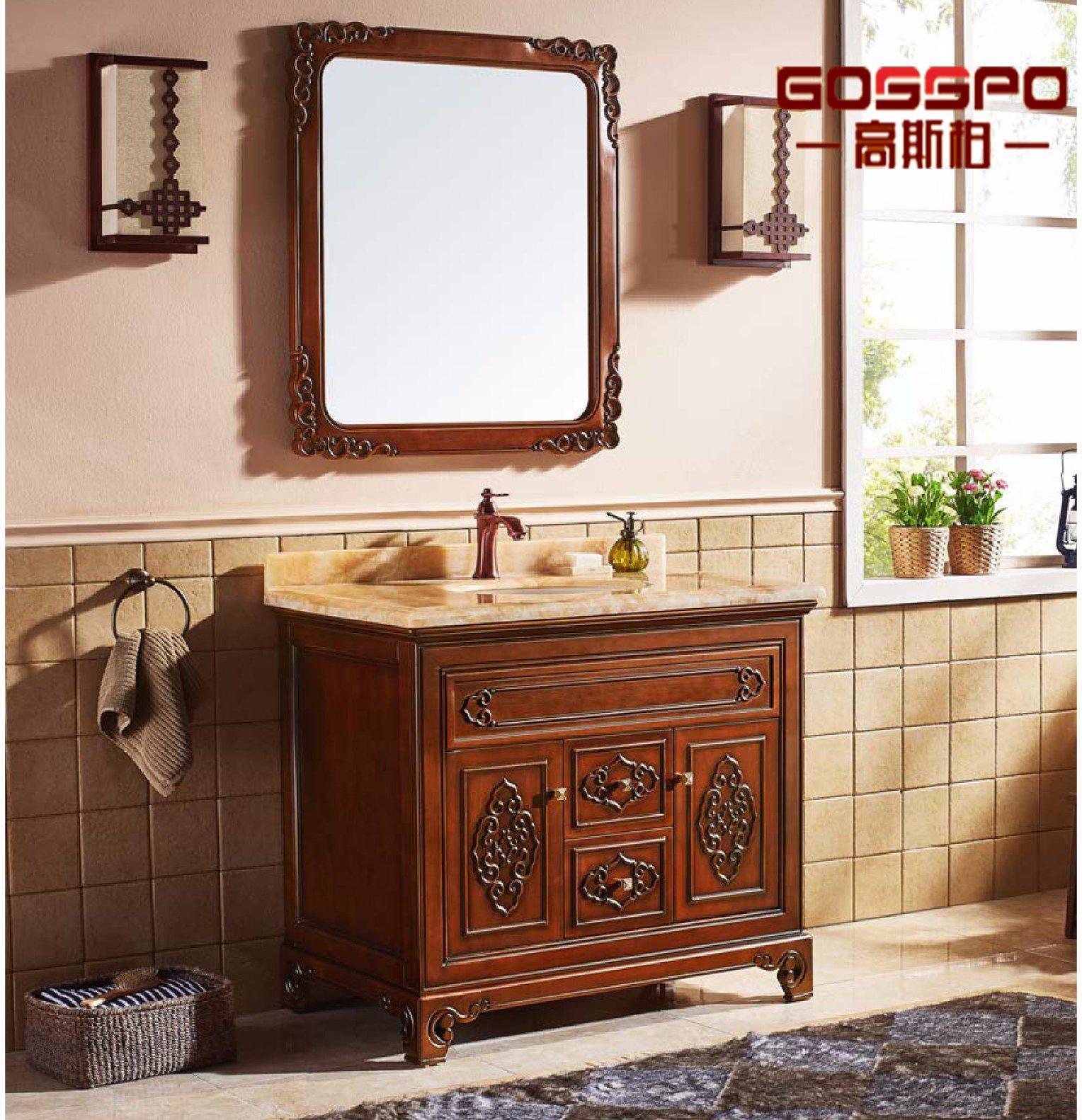 Armoire de salle de bain en bois autoportante rouge marron avec miroir  (GSP9-002)