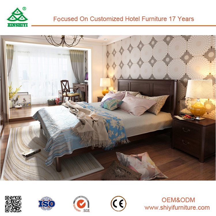 Bois de taille King lit double Chambre avec lit en bois massif ...