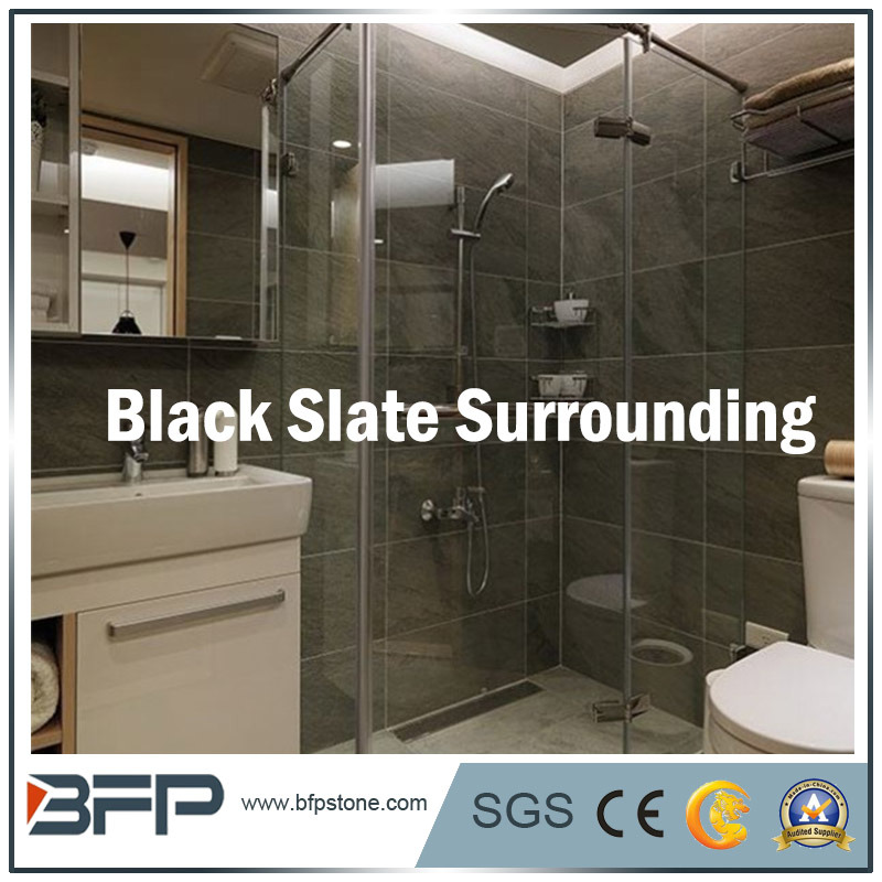 Style Salle de bains en ardoise noire pour salle de bains d ...