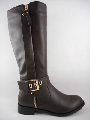 2015 Form Lady Shoes Flat Women Boot mit Ankle Buckle Casual Design Golden Zipper