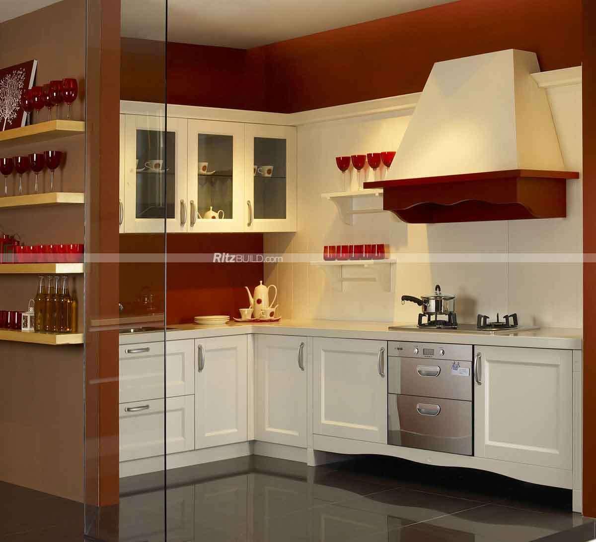 Diseño libre Cocina Encimera con paneles de puerta de madera maciza ...