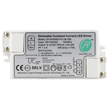 9W 700mA Dimmable Constant Current LED Driver、1-10VおよびPush Dimming