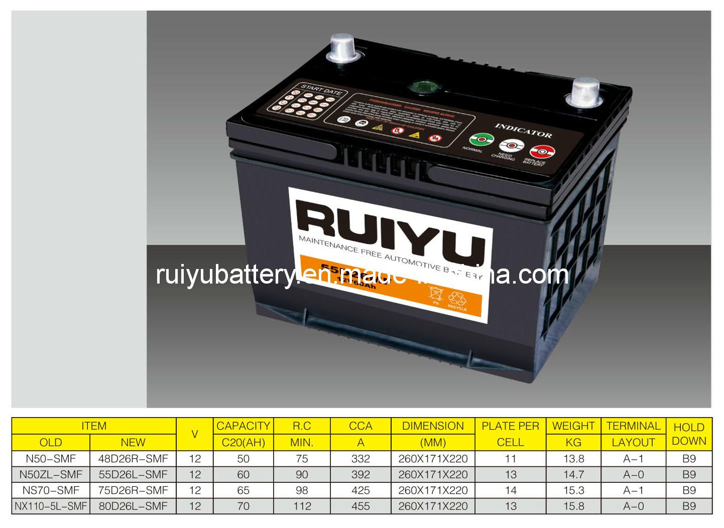 12V65AH 75D26R/L-SMF à partir de la batterie de voiture