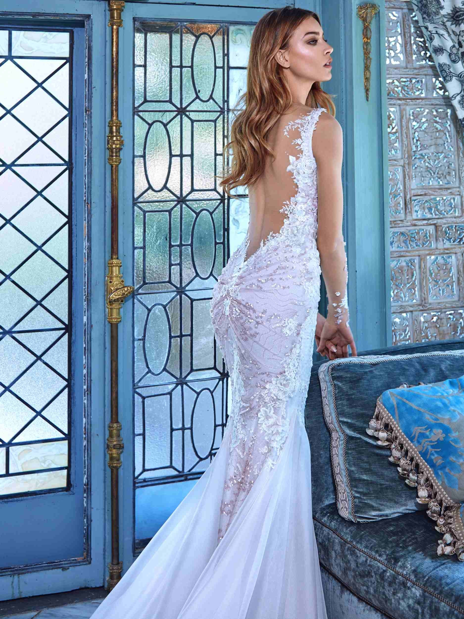 Blosses Spitze-Hochzeits-Kleid Sleeves V-Stutzen Backless Daria ...