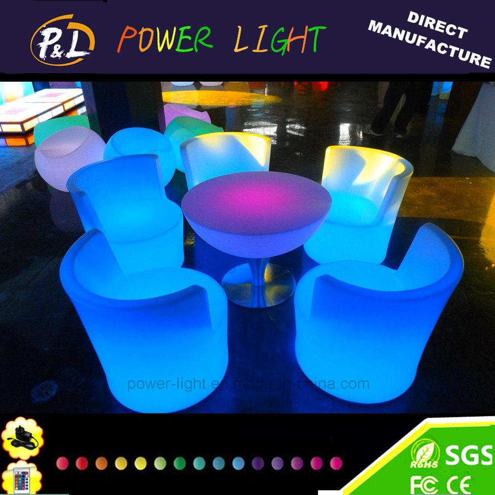 Foto de Muebles de jardín iluminado LED redonda de plástico mesa de ...