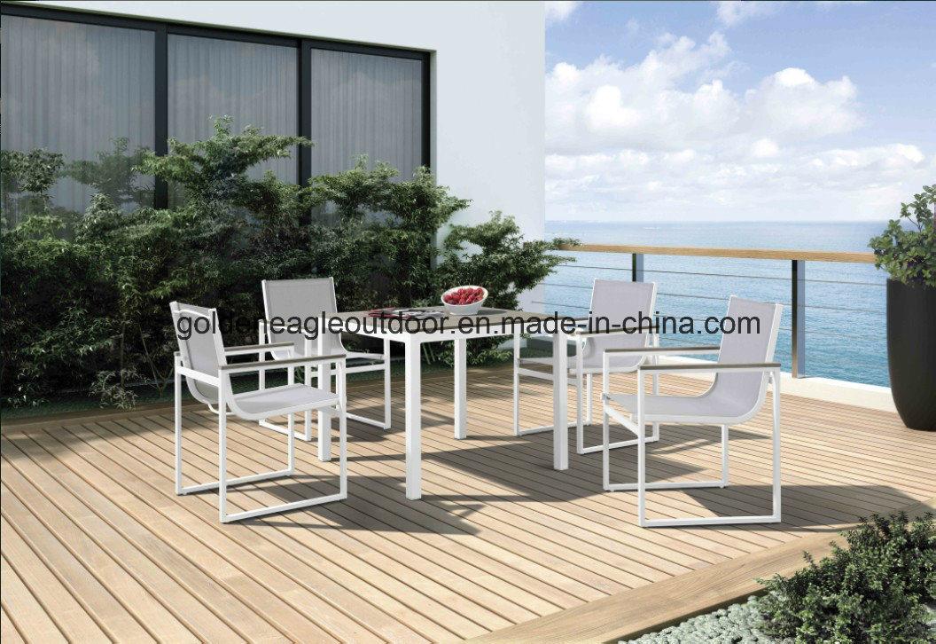Madeira e mobili rio de exterior para refei es da estrutura de alum nio madeira e mobili rio - Mobiliario de exterior ...
