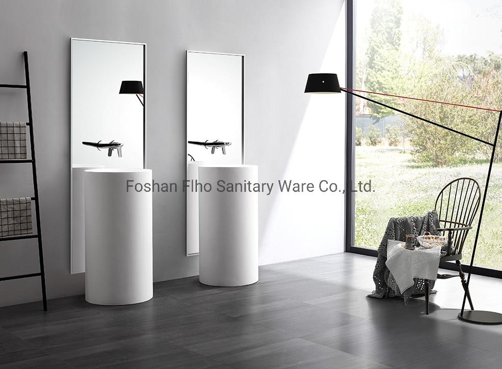 Canto do banheiro moderno Pedestal da bacia de pedra artificial pia do banheiro