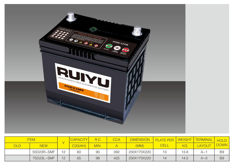 55D23r/12V60ah/JIS/Sealed Car Battery/wartungsfreie Batterie/Japan Standard