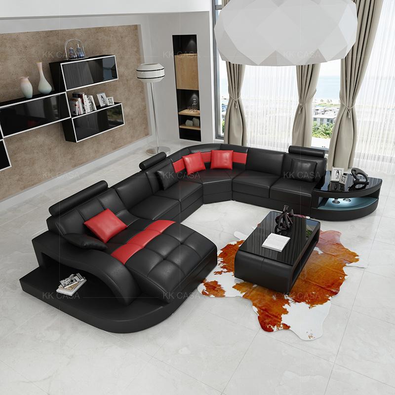 Maison européenne sellerie cuir Meubles de salon moderne canapé en cuir  noir à LED