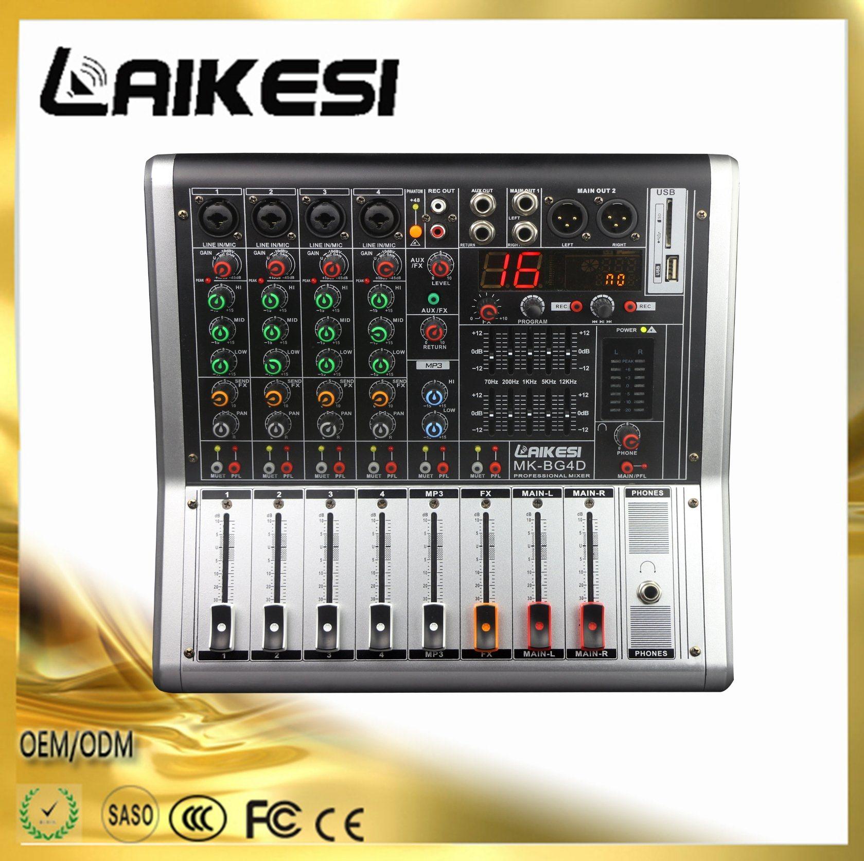 99DSP/4チャネルの音声のミキサーが付いている高品質4チャネルDJのミキサー