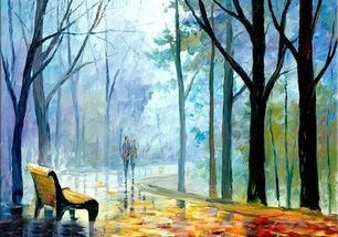 Decoração artesanal Floresta de pintura abstracta (TJ061)
