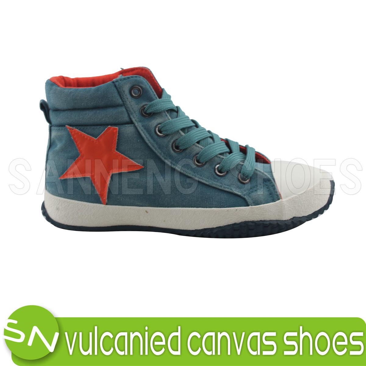 平らなかかとによって加硫させるゴム製Outsoleのズック靴S-03015