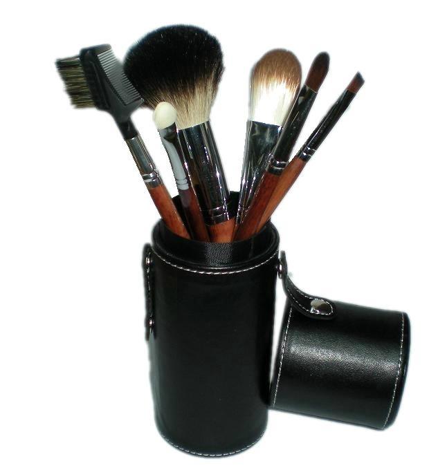 黒い7PCS Makeup Brush Set Cylinder Cosmetic Bag Cosmetic Beauty Tools