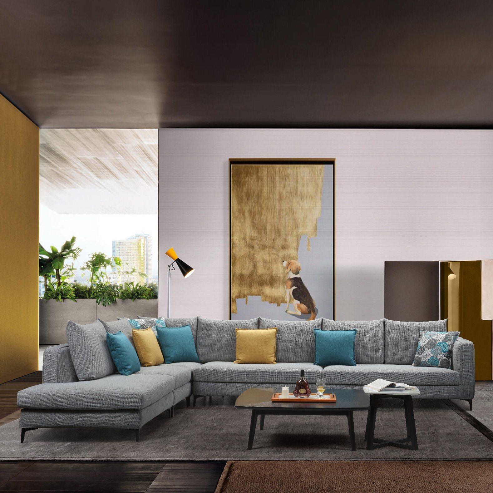 Tamanho grande cinzenta L Shape sofá de tecido para mobiliário de sala de estar