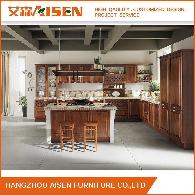 Foto de Muebles de cocina antiguos de madera sólida mueble de cocina ...