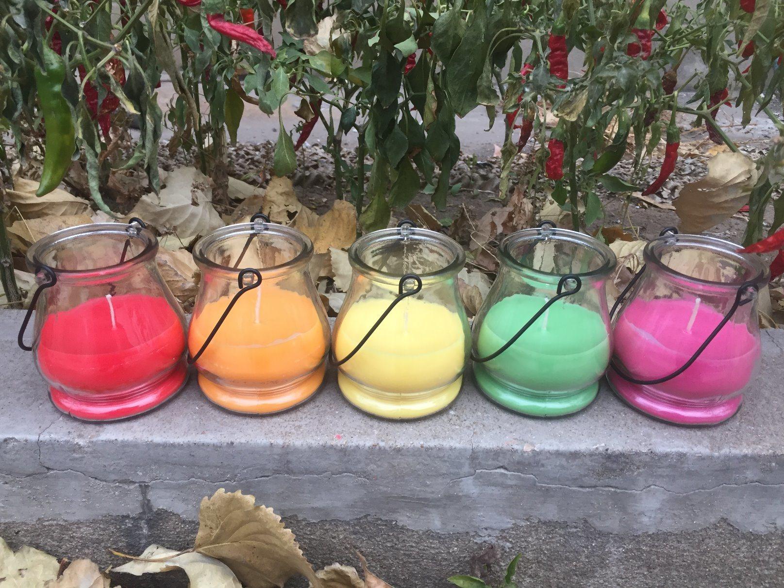 Lleno de Vela Perfumada en frasco de vidrio, la cera Velas, Velas de parafina