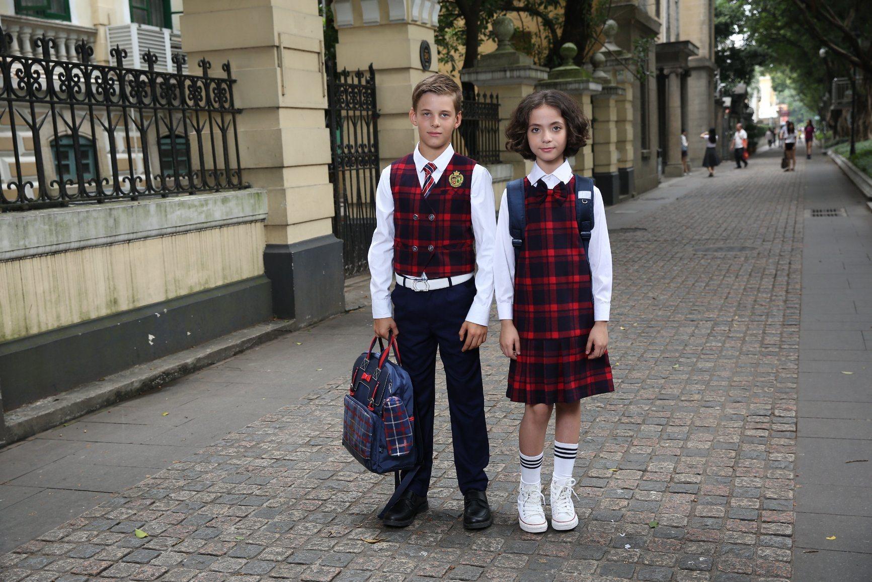 0a50798b0b0cc Vestido de cuadros escoceses primaria Escolares uniformes escolares ropa
