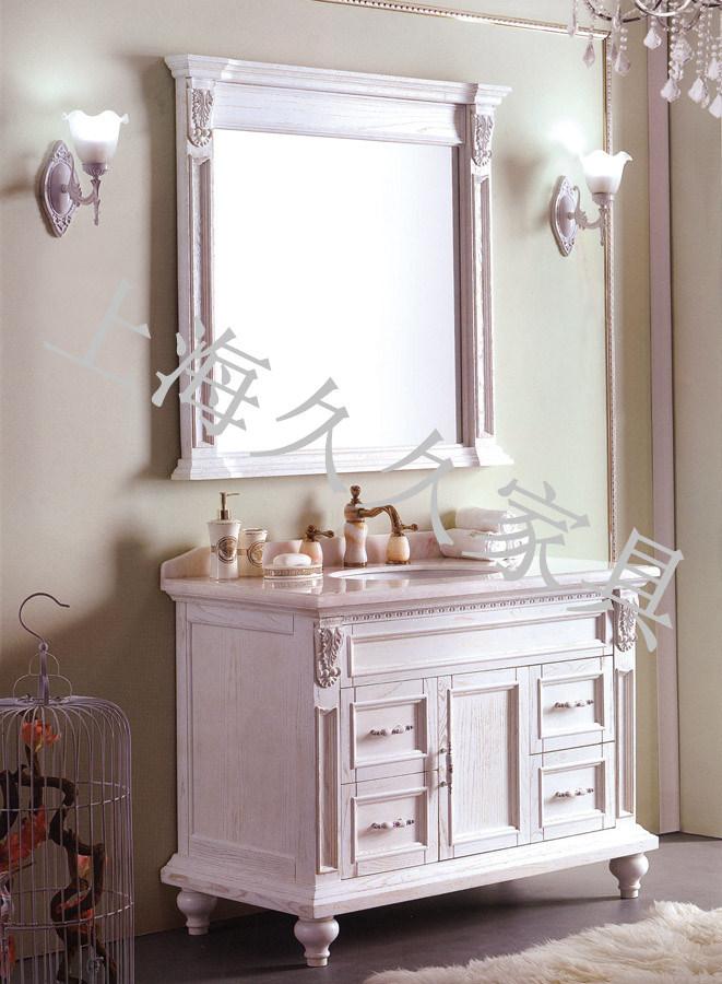 Salle de bains en bois massif Cabinet W/ dans des cadres de miroir de salle de bains meubles de type classique