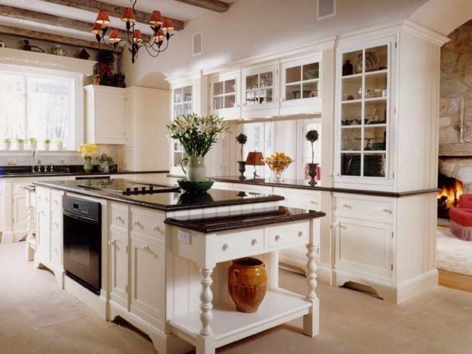 Französische Art Amerikanischer Kirschfestes Holz Küche Schrank