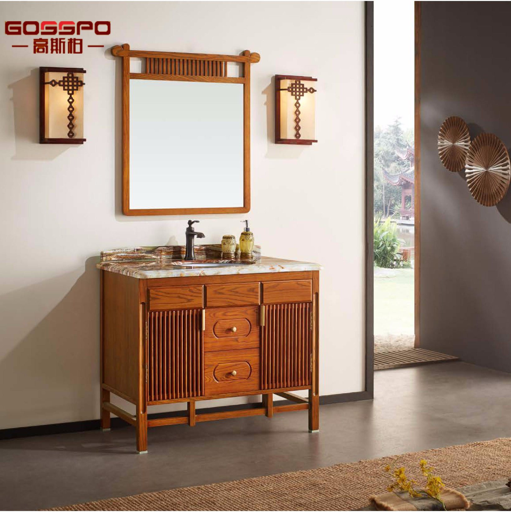 Cabinet de salle de bains en bois massif en acajou en style espagnol ...