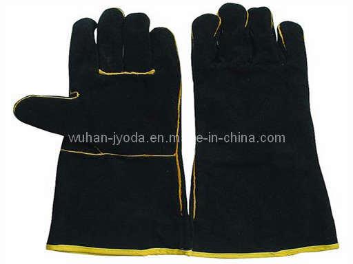 Schwarze Kuh-aufgeteiltes Leder-Schweißer-Handschuhe (W5016)