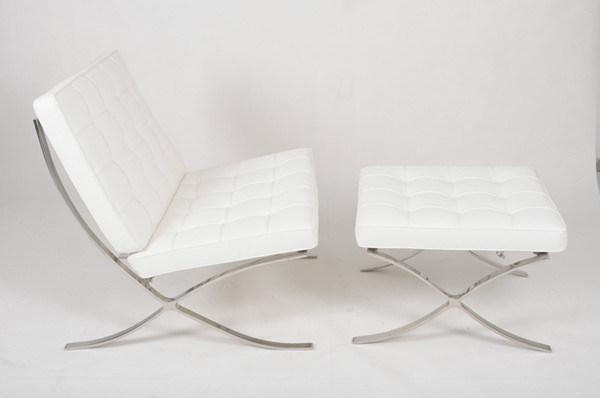Barcelona silla de cuero blanco y el Otomano – Barcelona silla de ...