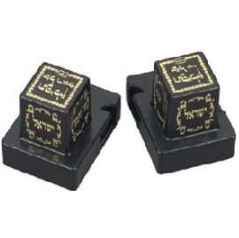 MirrorのSilver ColorのPainted Gold Decorations (2単位)のプラスチックTefillin Boxes