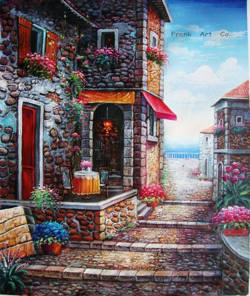 <Featured Painting >Maison en pierre peinture-- 027