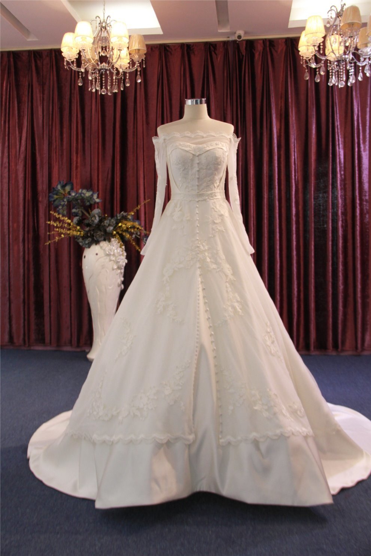 어깨 긴 소매 공단 신부 결혼 예복 떨어져