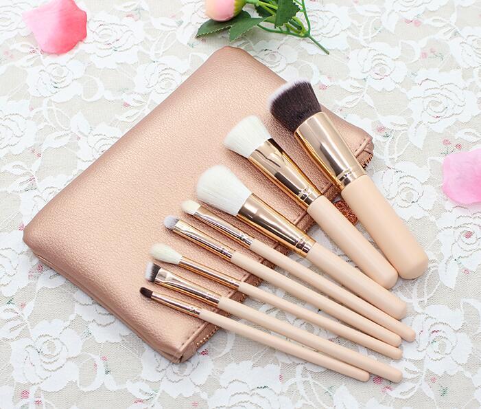 Rose Gold 8 escovas de maquiagem Profissional Fabricante