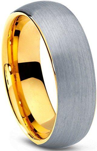 卸売6mm/8mm Tungsten Brush Polished Tungsten Dome Ring Plated Gold Wedding Ring.
