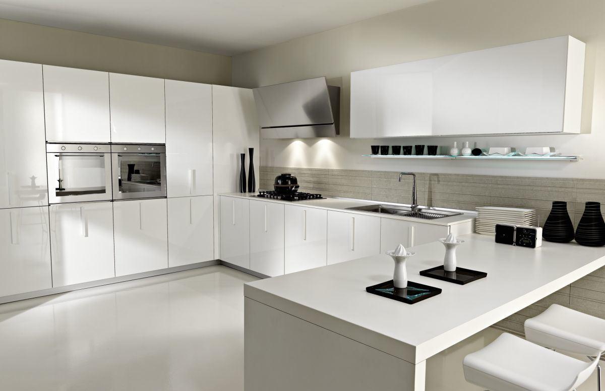 Hogar Muebles de Cocina de PVC de alto brillo blanco y moderno ...