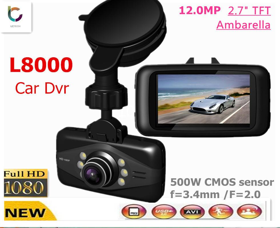 """2014 Ambarella Voiture DVR/Enregistreur/Caméra/Boîte noire avec le GPS L8000 HD 1080p 30 fps / grand angle de 120 degrés / SCN 2,7"""" /G-Capteur / La vision de nuit russe/anglais"""