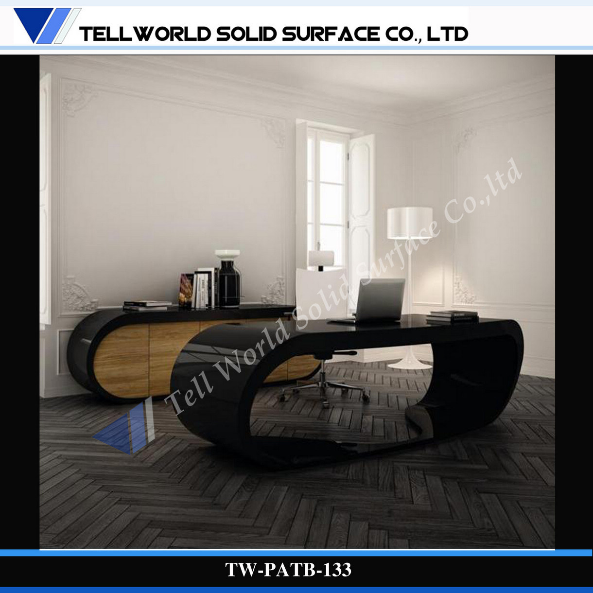 Black Mesa curvo de diseño moderno mobiliario de oficina, Gerente de ...
