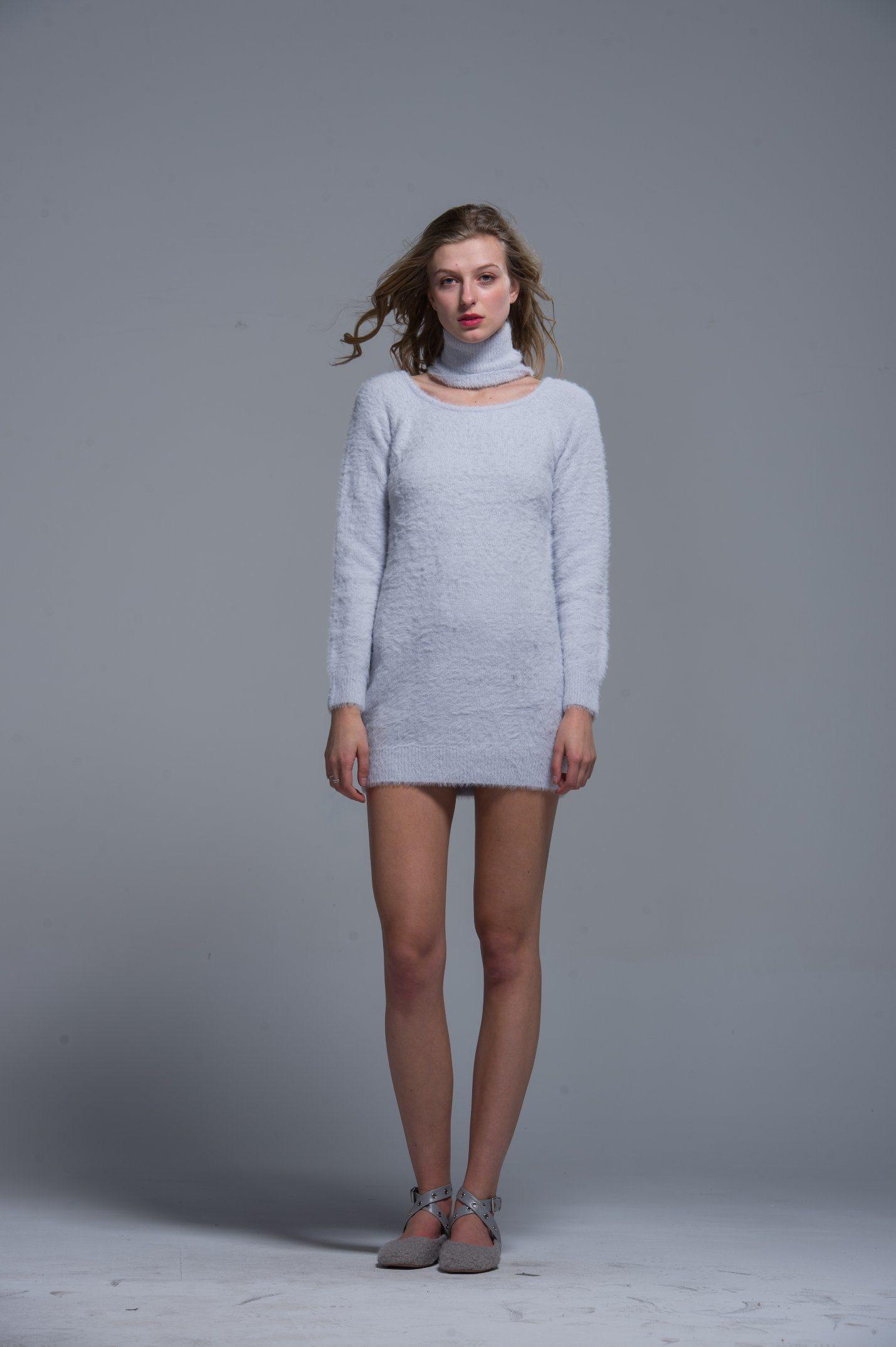 Дамы трикотажные свитер акриловый белый моды осень зима женщин удобные