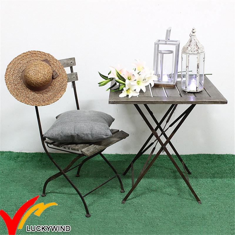 Vintage antiguo jardín al aire libre muebles Metal madera mesa ...