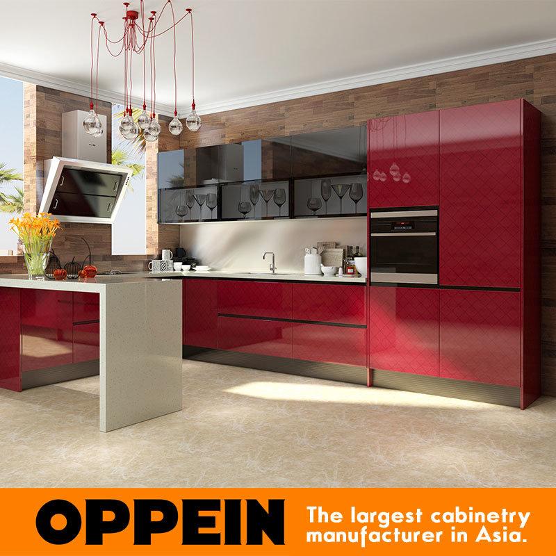 La moderna acrílico rojo en forma de U modular de madera armarios de ...