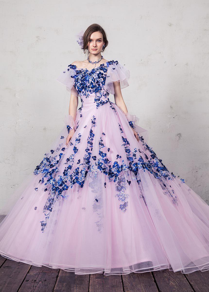 꽃이 손에 의하여 파란 분홍색 Prom 당 저녁 무도회복 Quinceaner 결혼 예복 시켰다