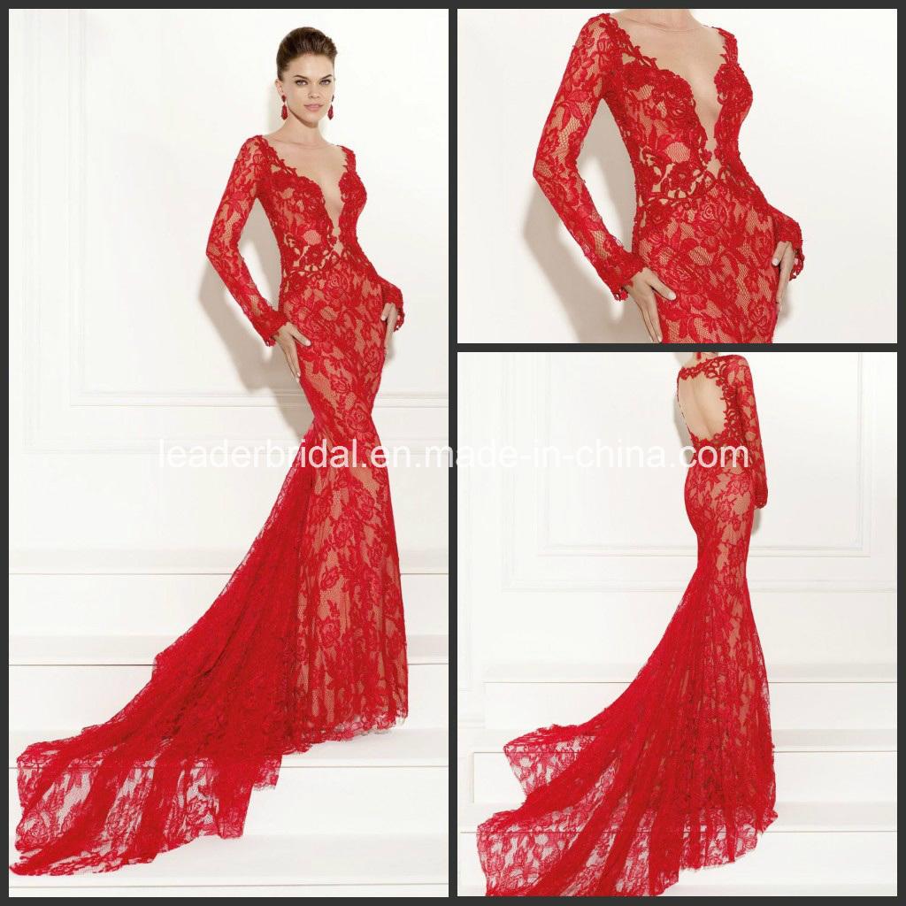 Spitze-Abschlussball-Cocktail-Kleid langes Vestdos rotes Abend-Kleid ...
