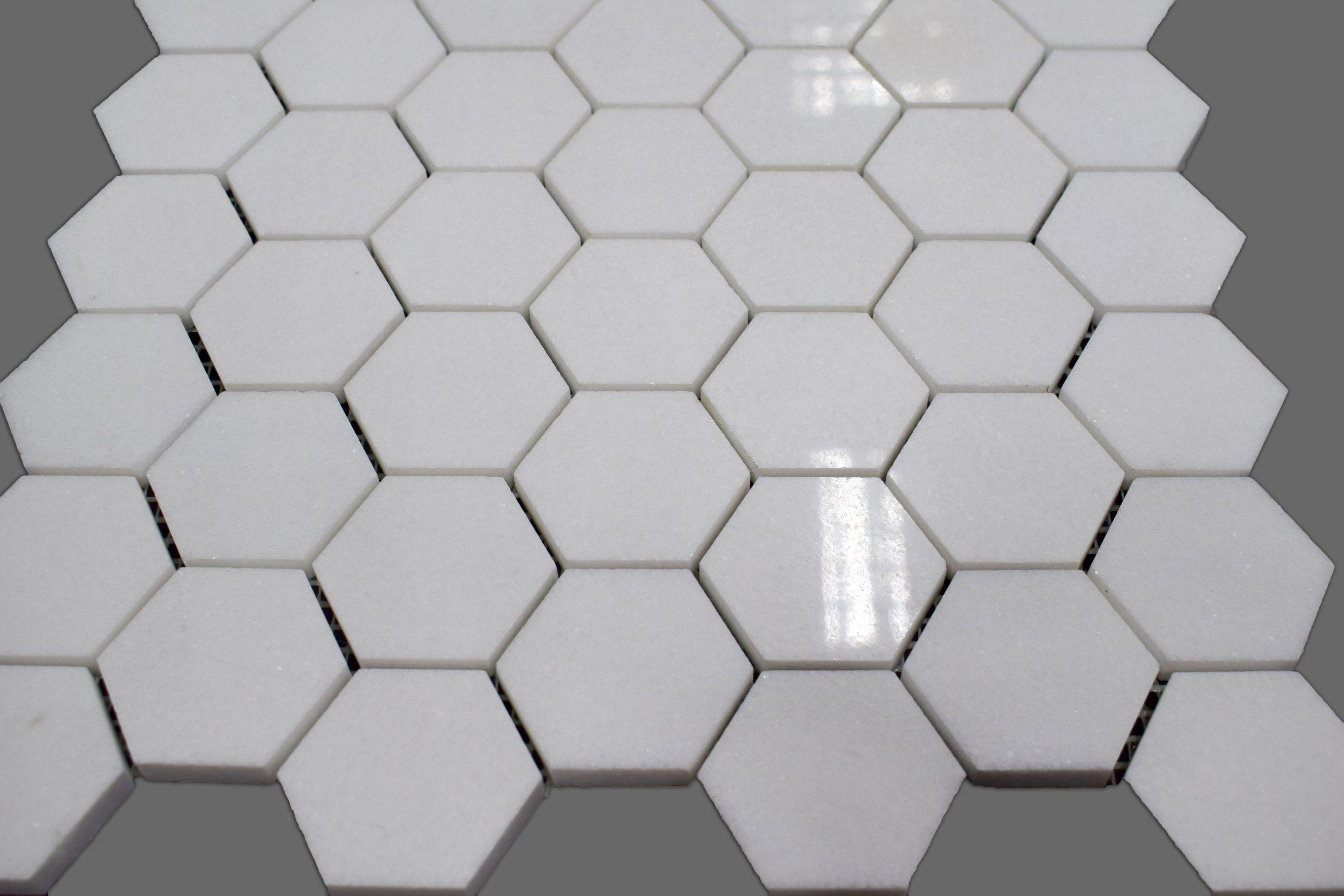 Mattonelle di mosaico di cristallo bianche del marmo di
