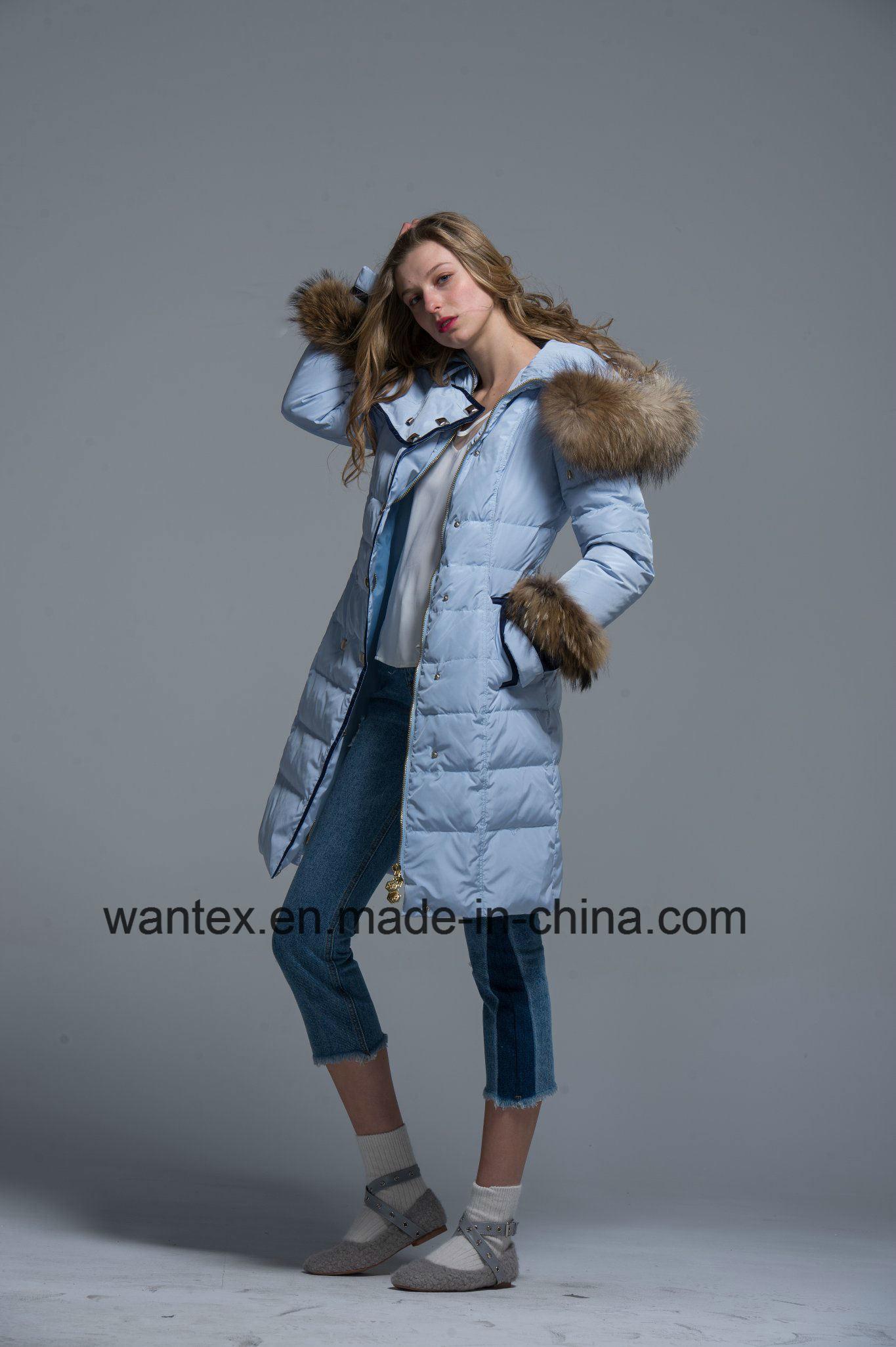 Damen lösen hinunter Eiderdaunen-Herbst-den Winter der Mantel-Form-80% blau sich wärmen