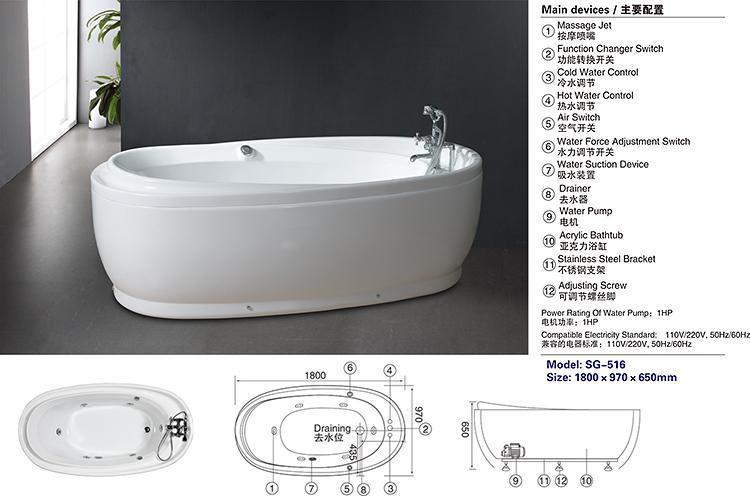 Vasca Da Bagno Ovale Piccola : Stanza da bagno acrilica ovale a buon mercato moderna della vasca