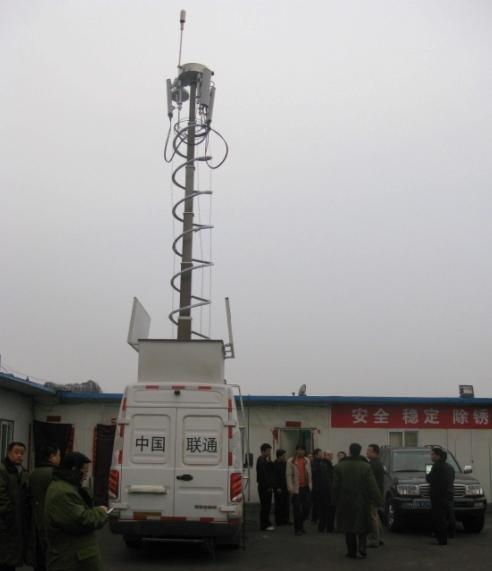 Reboque Móvel Montado alta Torre do mastro da antena telescópica, Montado na Vertical torre de telecomunicações Telescópico móveis pesados